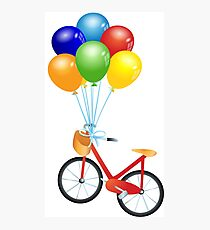 Bicycle and balloons Photographic Print