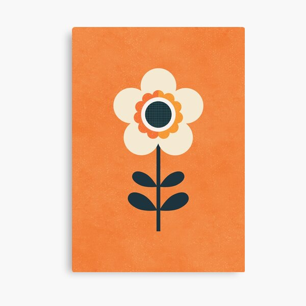 Retro Blossom - Orange and Cream Canvas Print