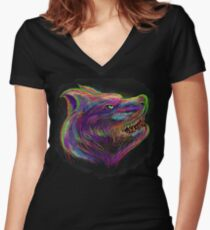 artistic and abstract wolf drawing and painting design  Women's Fitted V-Neck T-Shirt