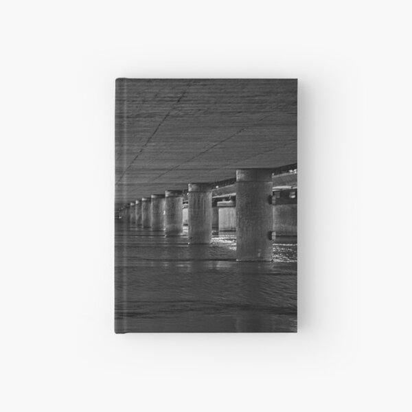 Under the bridge 1 black-white Hardcover Journal