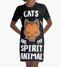 Cats Are My Spirit Animal Graphic T-Shirt Dress