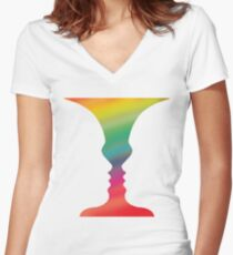 Rubin Faces Vase Gestalt Drawing Women's Fitted V-Neck T-Shirt