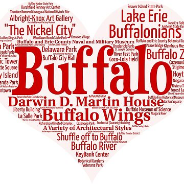 Heart of Buffalo Red Heart Word Cloud Products by Mel747