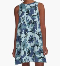 Navy camouflage A-Line Dress