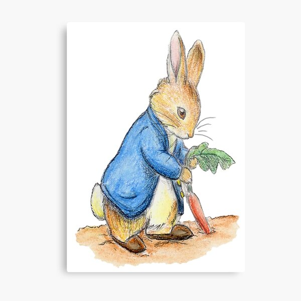 Nursery Characters, Peter Rabbit, Beatrix Potter. Metal Print