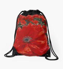 Red Poppy Field Drawstring Bag
