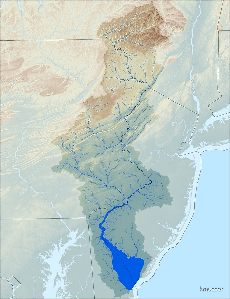 Delaware River Watershed Map - Raw Landscape by kmusser