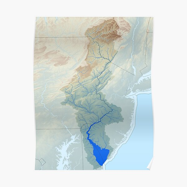 Delaware River Watershed Map - Raw Landscape Poster