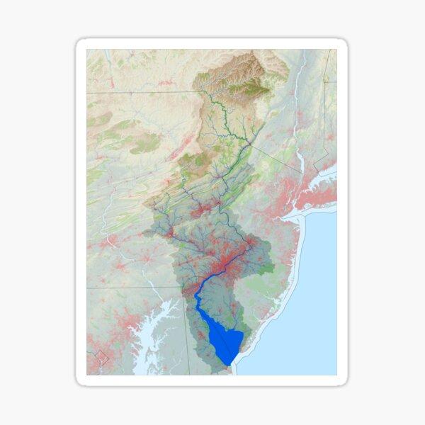 Delaware River Watershed Map - Modified Landscape Sticker