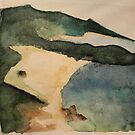 Watercolor mountains ocean beach by cocodesigns