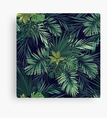 Seamless hand drawn botanical exotic vector pattern with green palm leaves Canvas Print
