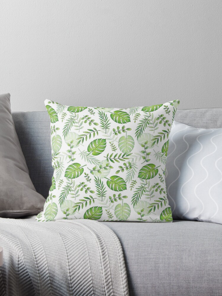 Monstera Leafy Pattern green on white by Hazel Fisher