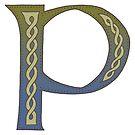 Celtic Knotwork Alphabet - Letter P by Carrie Dennison