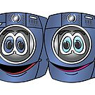 Blue Front Load Washer Dryer Cartoon by Graphxpro