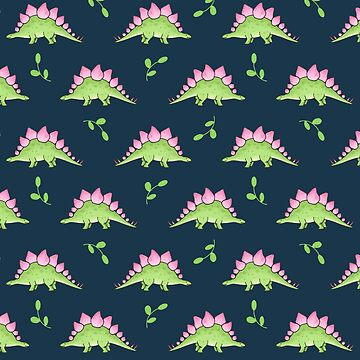 Green and Pink Stegosaurus Dinosaur on navy with leaves by HazelFisher