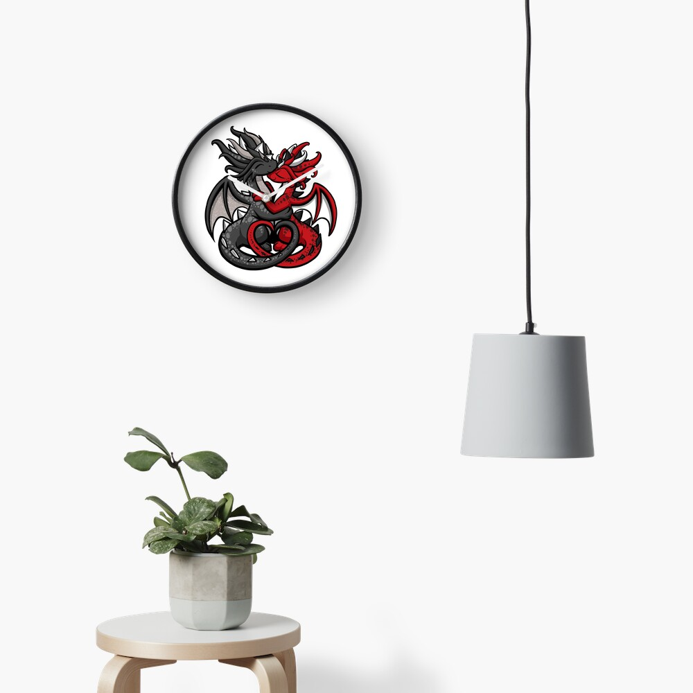 Dragon Couple Black and Red Clock