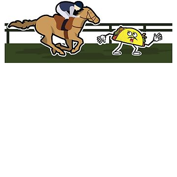 Funny Horse Racing Tee with Taco for Derby de Mayo by albertellenich