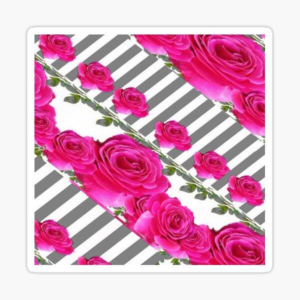 GREY ART CERISE PINK ROSE GARDEN  Sticker