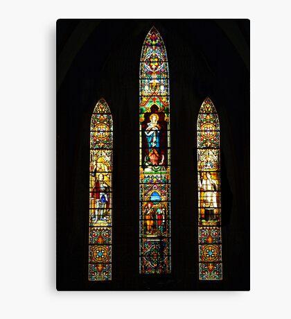 Leadlight window at St Joseph Catholic Church, Hanoi Vietnam Canvas Print