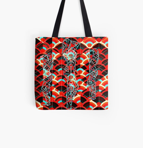 Power of Threes - Red All Over Print Tote Bag