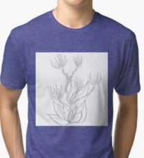 Flowers with raw lines Tri-blend T-Shirt