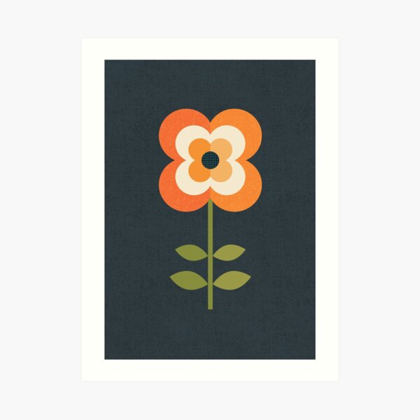 Retro Flower - Orange and Charcoal Art Print