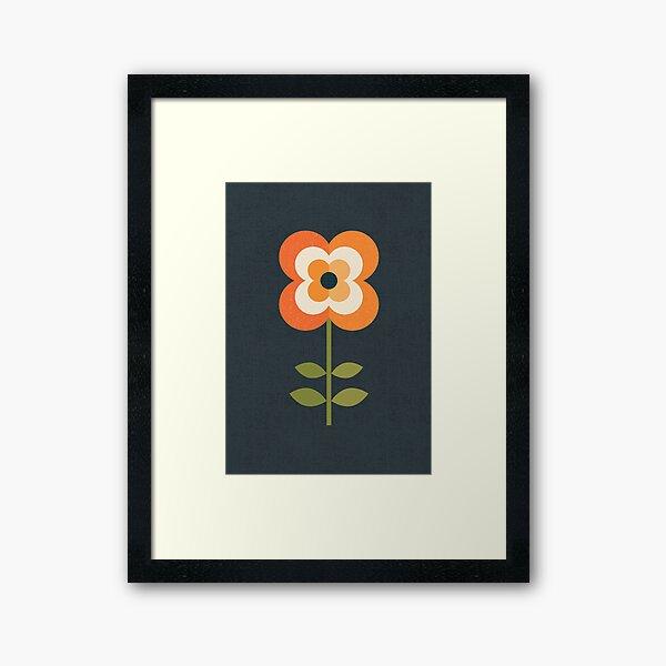 Retro Flower - Orange and Charcoal Framed Art Print