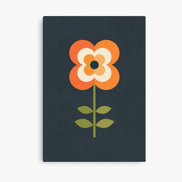 Retro Flower - Orange and Charcoal Canvas Print