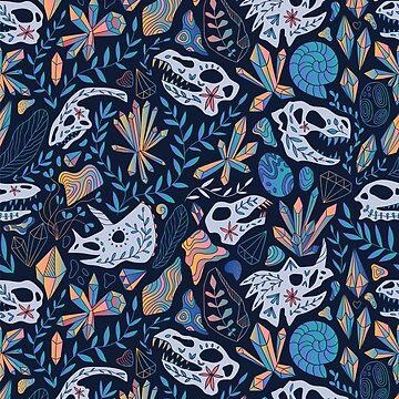 Geology. Crystals. Dinosaurs skulls. by kostolom3000