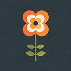 Retro Flower - Orange and Charcoal by daisy-beatrice
