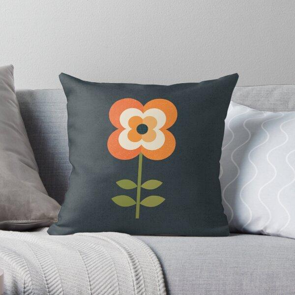 Flor Retro - Naranja y Carbón Cojín