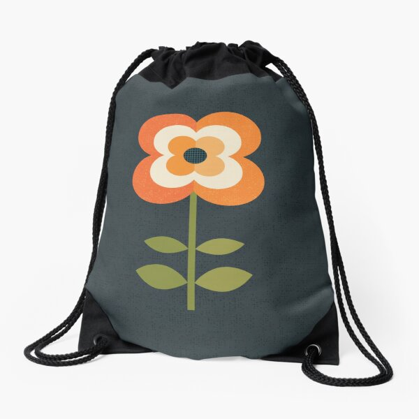 Retro Flower - Orange and Charcoal Drawstring Bag