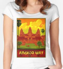 ANGKOR WAT : Vintage Cambodia Temple Print Fitted Scoop T-Shirt