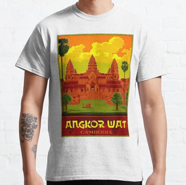ANGKOR WAT : Vintage Cambodia Temple Print Classic T-Shirt