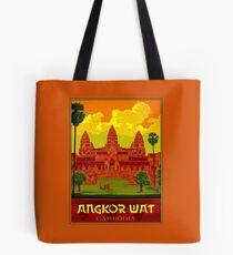 ANGKOR WAT : Vintage Cambodia Temple Print Tote Bag