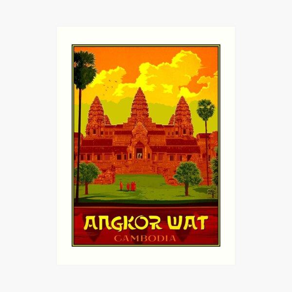 ANGKOR WAT : Vintage Cambodia Temple Print Art Print
