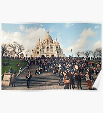 People in front of Sacre Coeur Basilica on Montmartre Poster