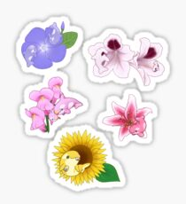 Orcas and Flowers sticker set Sticker