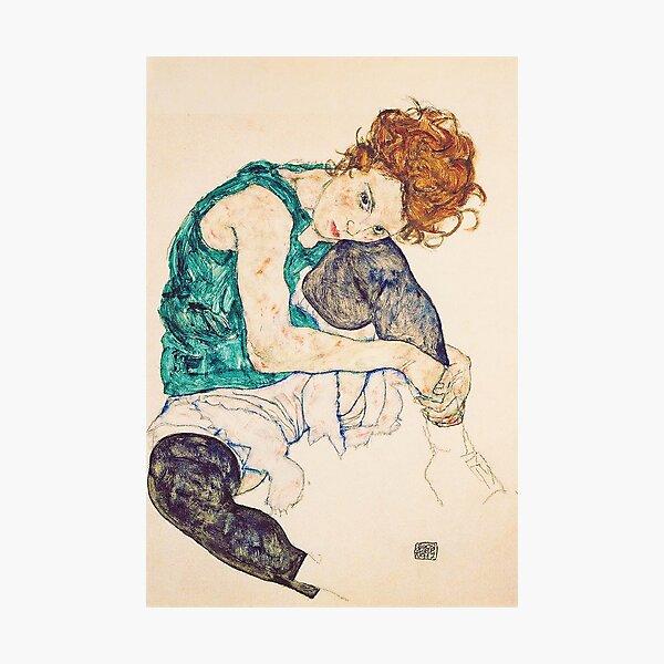 Mujer sentada HD con las piernas dibujadas, por Egon Schiele - ALTA DEFINICIÓN Lámina fotográfica