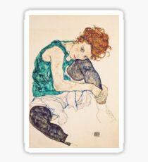 Femme assise en HD avec des jambes dessinées, par Egon Schiele - HAUTE DÉFINITION Sticker