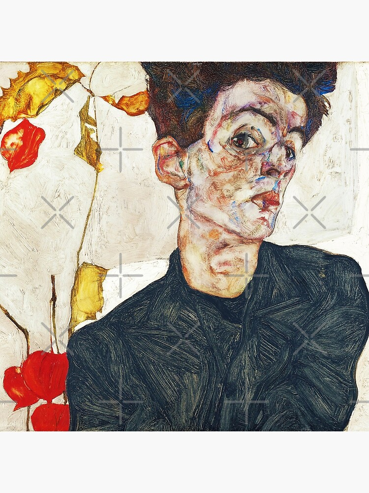 HD Self Portrait with Physalis by Egon Schiele 1914 HIGH DEFINITION by mindthecherry