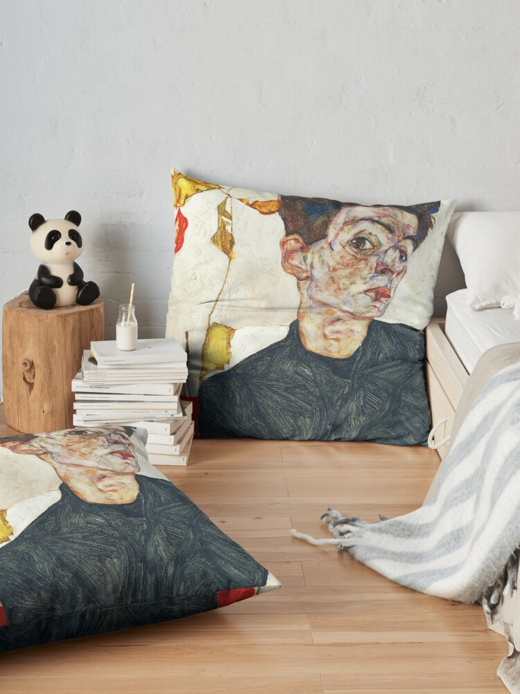 Alternate view of HD Self Portrait with Physalis by Egon Schiele 1914 HIGH DEFINITION Floor Pillow