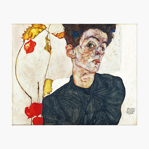 Autoportrait HD avec Physalis par Egon Schiele 1914 HIGH DEFINITION Impression photo