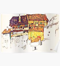 HD Old Houses in Krumau, Egon Schiele 1914 HIGH DEFINITION Poster