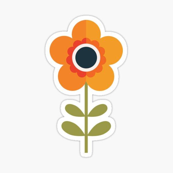 Retro Blossom - Orange and Cream Sticker