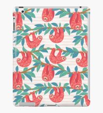 Cute sloths with ornament hanging on the branches of trees. iPad Case/Skin