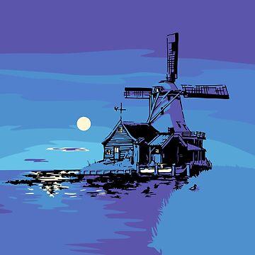 Dutch Windmill at night. by Moolversin