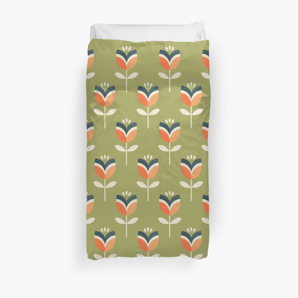 Retro Tulpe - Orange und Olivgrün Bettbezug