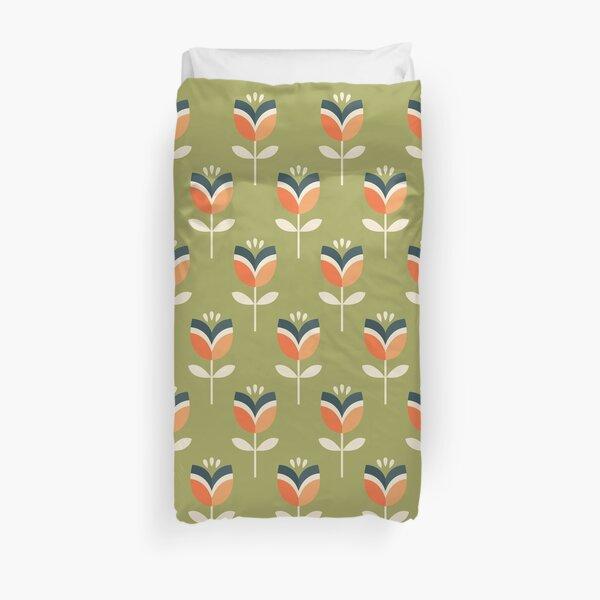 Retro Tulip - Orange and Olive Green Duvet Cover