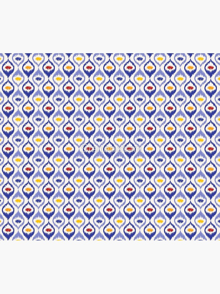 Ikat pattern, blue ogee shapes with red, yellow, orange by Slanapotam